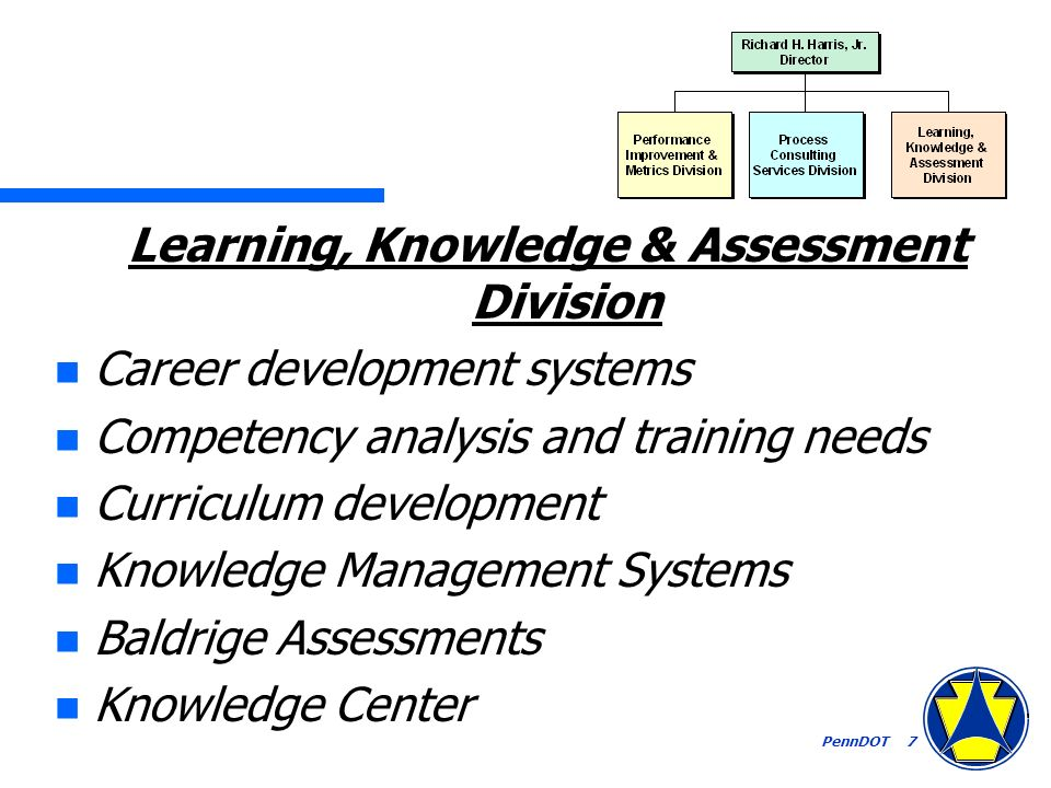 PennDOT 7 Learning, Knowledge & Assessment Division n Career development systems n Competency analysis and training needs n Curriculum development n Knowledge Management Systems n Baldrige Assessments n Knowledge Center