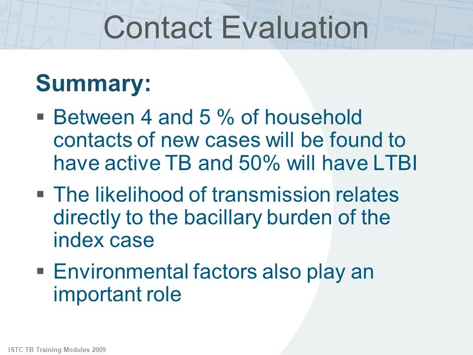 ISTC TB Training Modules 2009 Contact Evaluation Summary: Between 4 and 5 % of household contacts of new cases will be found to have active TB and 50% will have LTBI The likelihood of transmission relates directly to the bacillary burden of the index case Environmental factors also play an important role