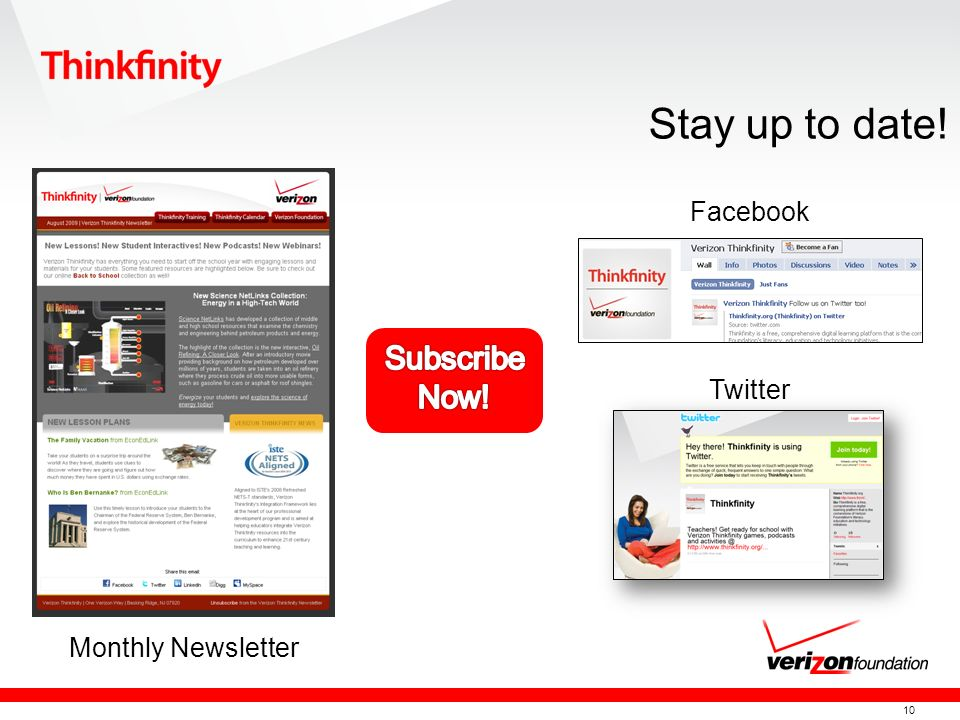 10 Monthly Newsletter Facebook Twitter Stay up to date!