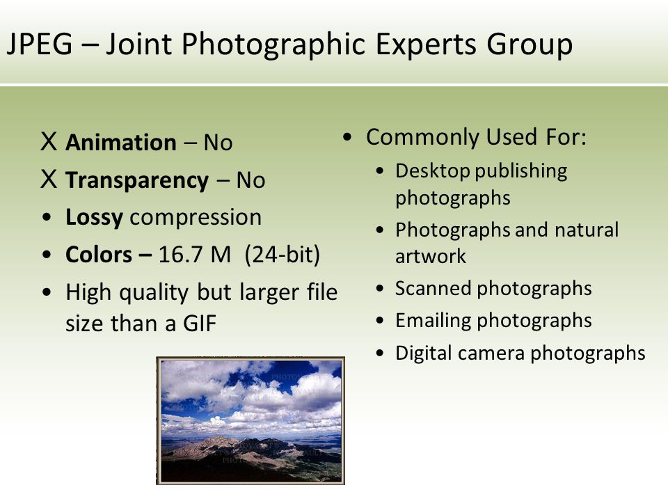 JPEG – Joint Photographic Experts Group X Animation – No X Transparency – No Lossy compression Colors – 16.7 M (24-bit) High quality but larger file size than a GIF Commonly Used For: Desktop publishing photographs Photographs and natural artwork Scanned photographs  ing photographs Digital camera photographs