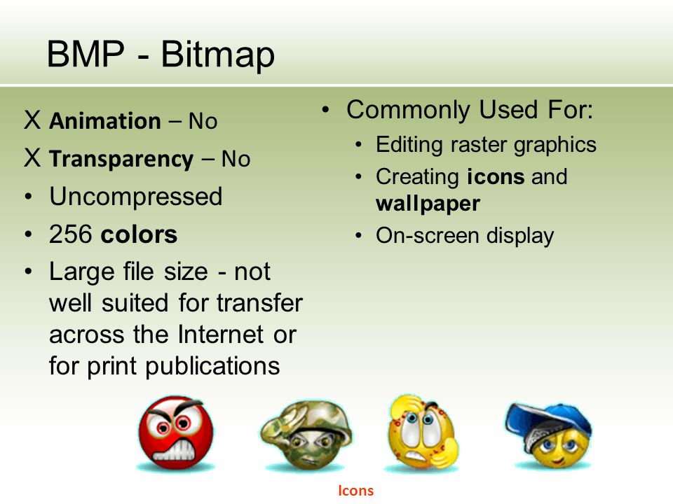 BMP - Bitmap X Animation – No X Transparency – No Uncompressed 256 colors Large file size - not well suited for transfer across the Internet or for print publications Commonly Used For: Editing raster graphics Creating icons and wallpaper On-screen display Icons