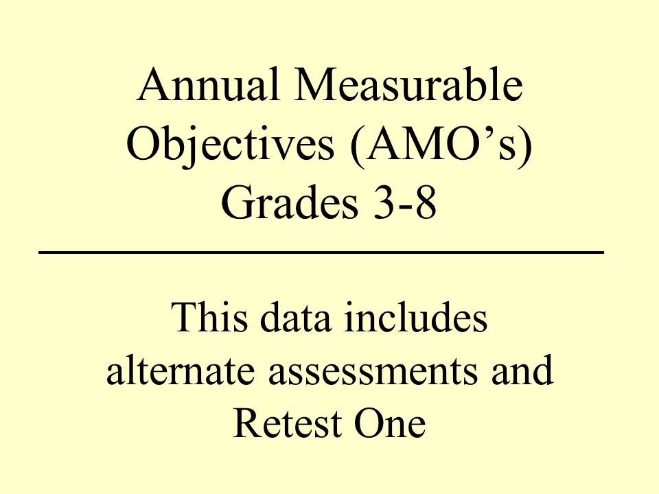 Annual Measurable Objectives (AMOs) Grades 3-8 This data includes alternate assessments and Retest One