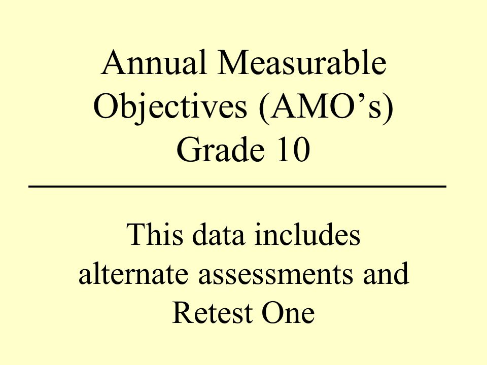 Annual Measurable Objectives (AMOs) Grade 10 This data includes alternate assessments and Retest One