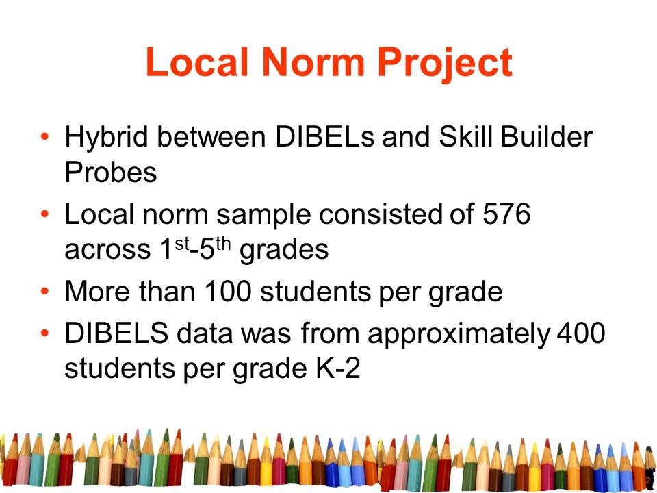 2 Local Norm Project Hybrid between DIBELs and Skill Builder Probes Local norm sample consisted of 576 across 1 st -5 th grades More than 100 students per grade DIBELS data was from approximately 400 students per grade K-2