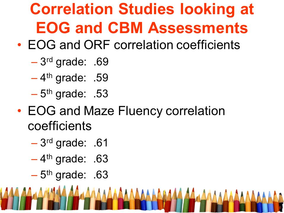 6 Correlation Studies looking at EOG and CBM Assessments EOG and ORF correlation coefficients –3 rd grade:.69 –4 th grade:.59 –5 th grade:.53 EOG and Maze Fluency correlation coefficients –3 rd grade:.61 –4 th grade:.63 –5 th grade:.63
