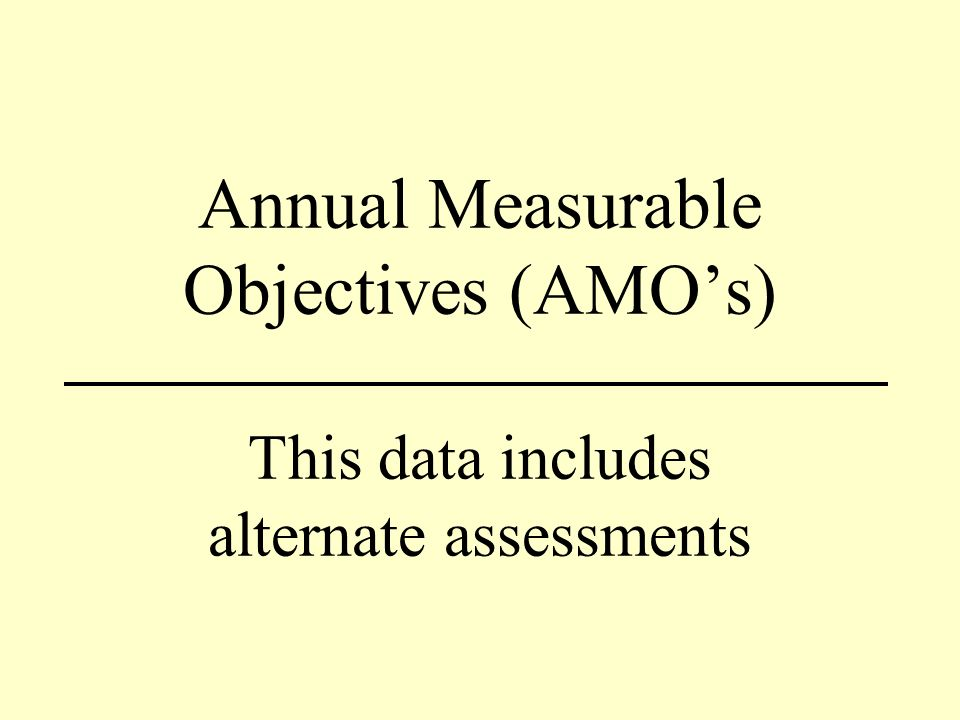 Annual Measurable Objectives (AMOs) This data includes alternate assessments