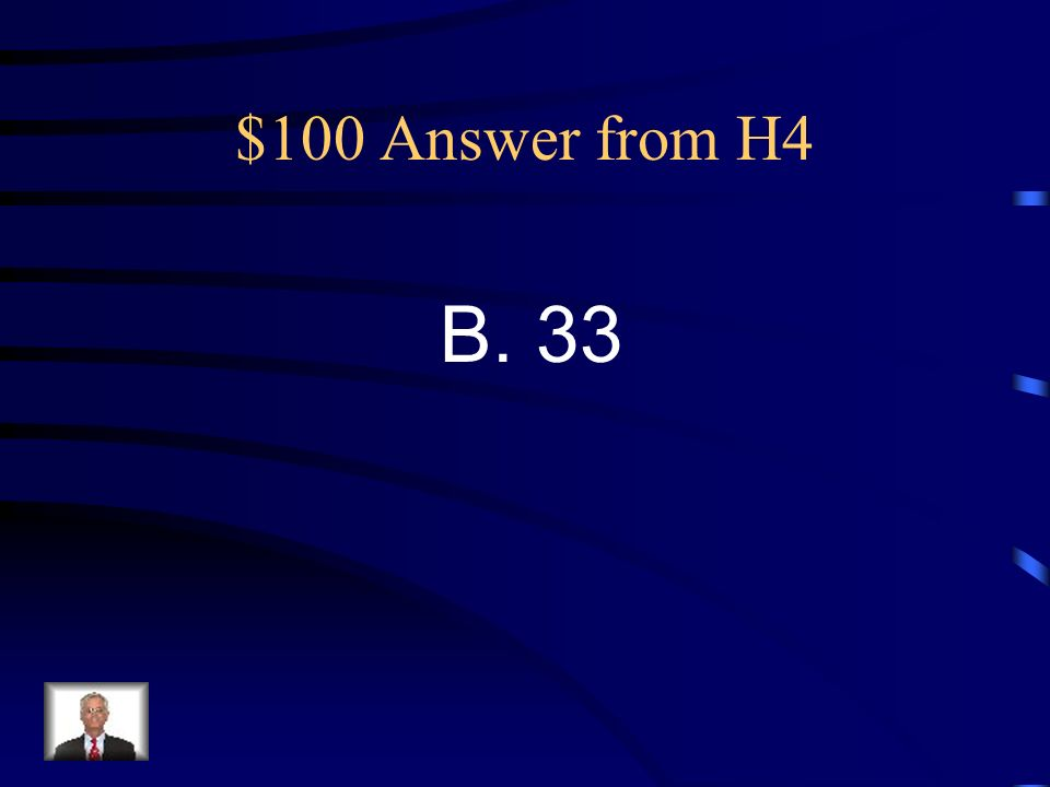 $100 Question from H4 40. What is the range of this set of scores A. 23 B. 33 C. 43 D. 53