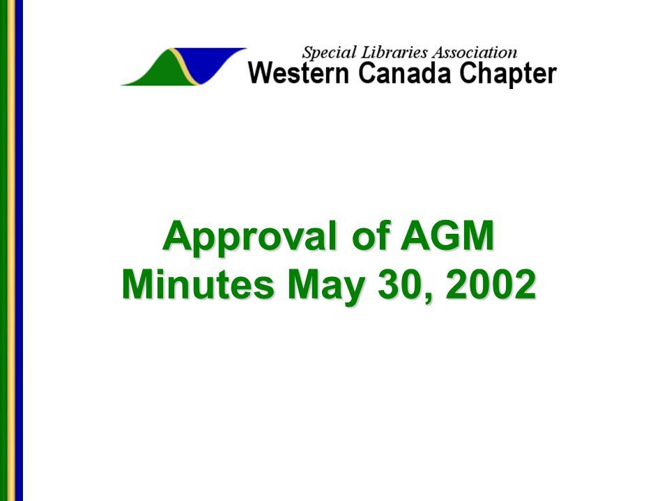 Approval of AGM Minutes May 30, 2002