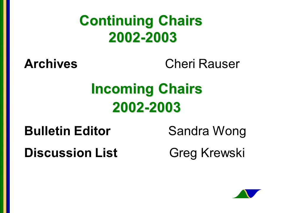 Continuing Chairs 2002-2003 Archives Cheri Rauser Incoming Chairs 2002-2003 Bulletin Editor Sandra Wong Discussion List Greg Krewski