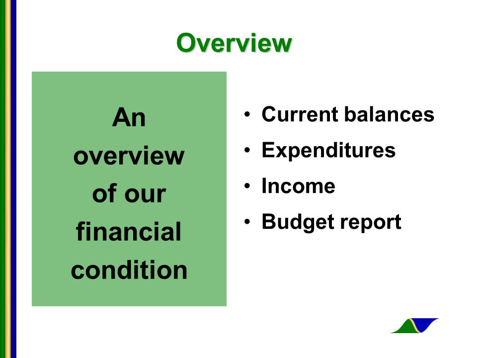 Overview An overview of our financial condition Current balances Expenditures Income Budget report