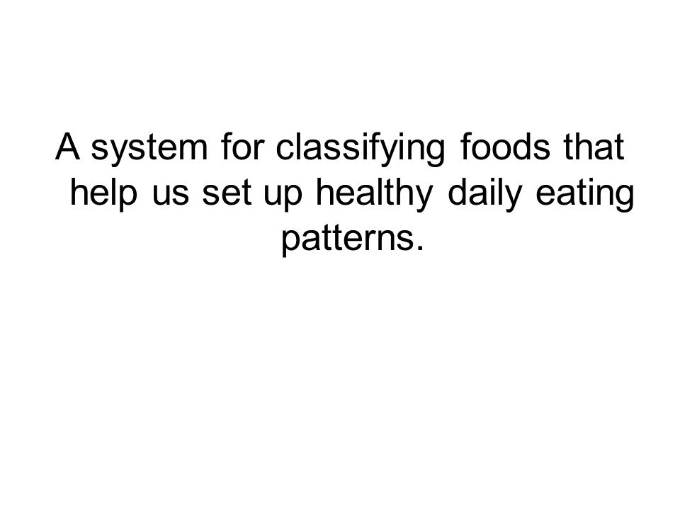 A system for classifying foods that help us set up healthy daily eating patterns.
