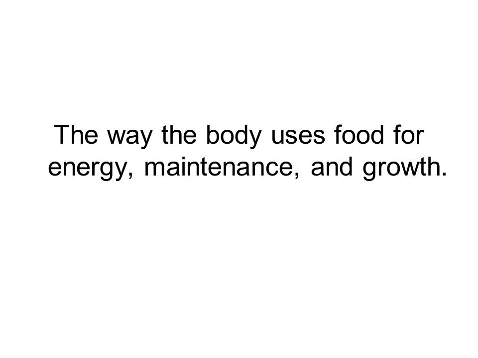 The way the body uses food for energy, maintenance, and growth.