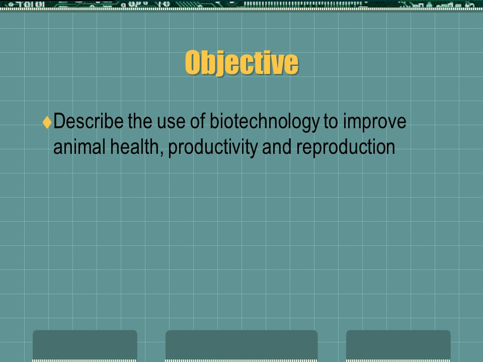 Objective Describe the use of biotechnology to improve animal health, productivity and reproduction