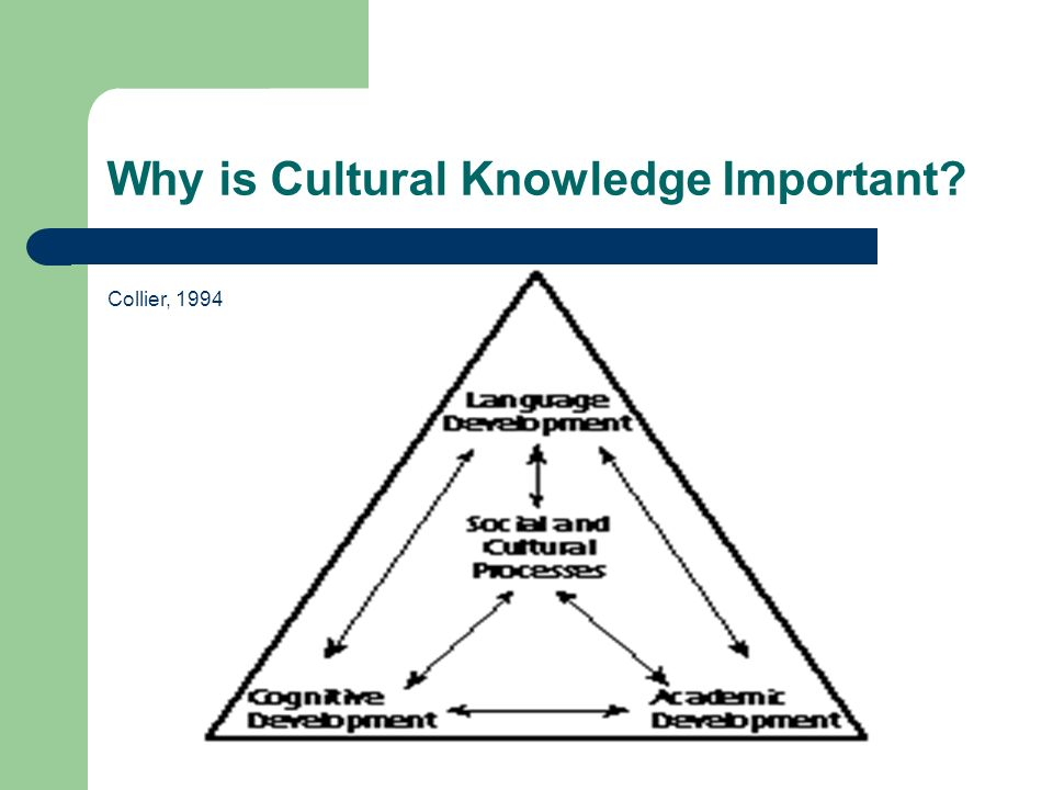 Why is Cultural Knowledge Important Collier, 1994