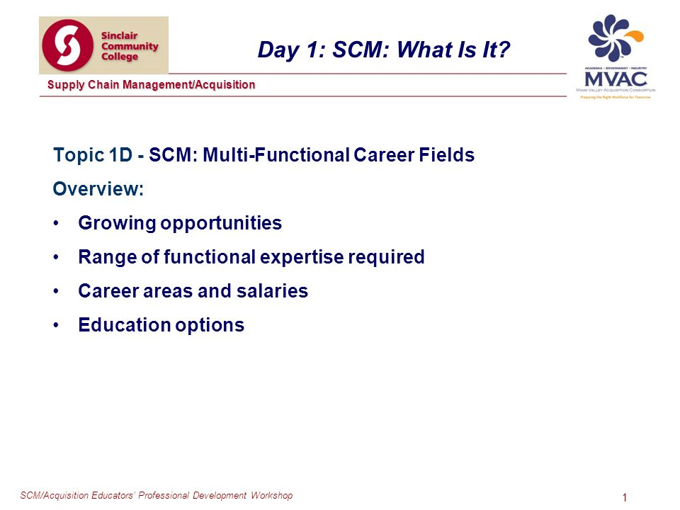 SCM/Acquisition Educators Professional Development Workshop Supply Chain Management/Acquisition 1 Day 1: SCM: What Is It.