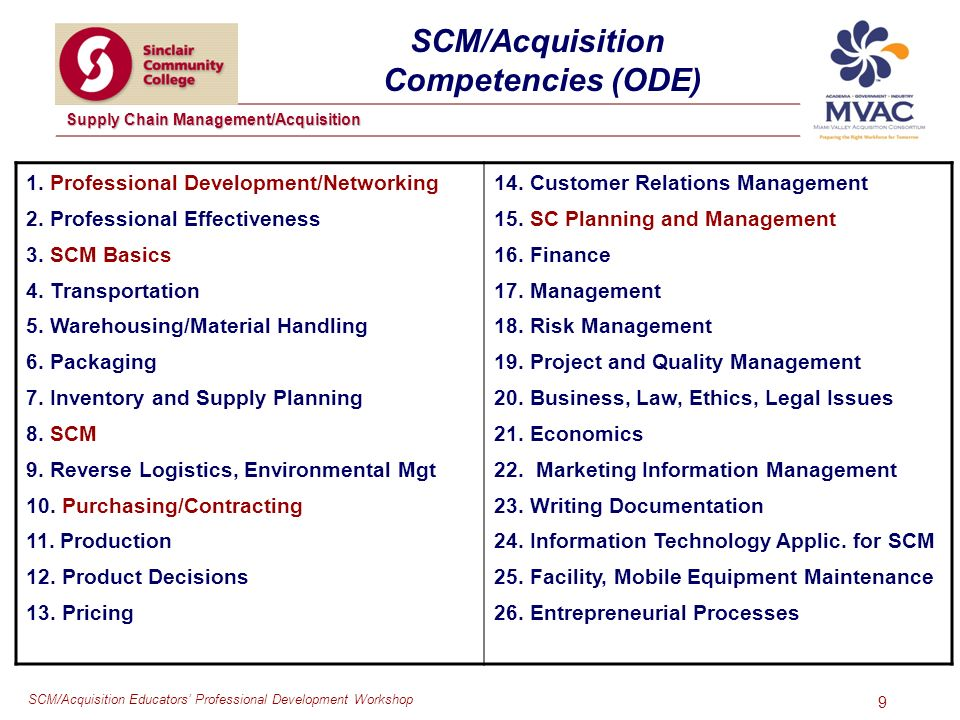 SCM/Acquisition Educators Professional Development Workshop Supply Chain Management/Acquisition 9 SCM/Acquisition Competencies (ODE) 1.