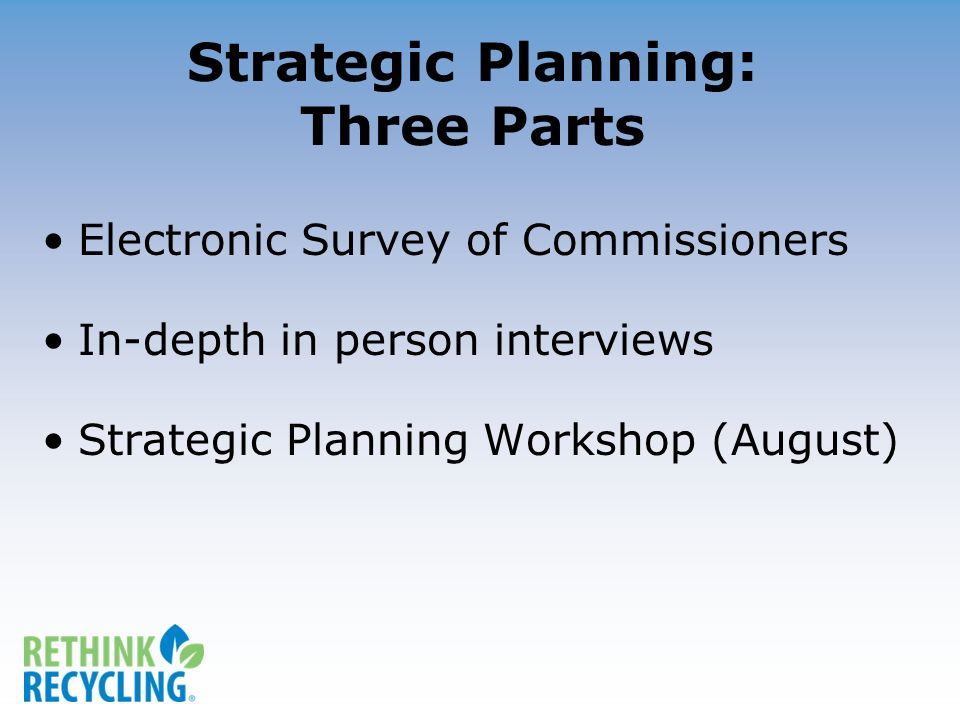 Strategic Planning: Three Parts Electronic Survey of Commissioners In-depth in person interviews Strategic Planning Workshop (August)