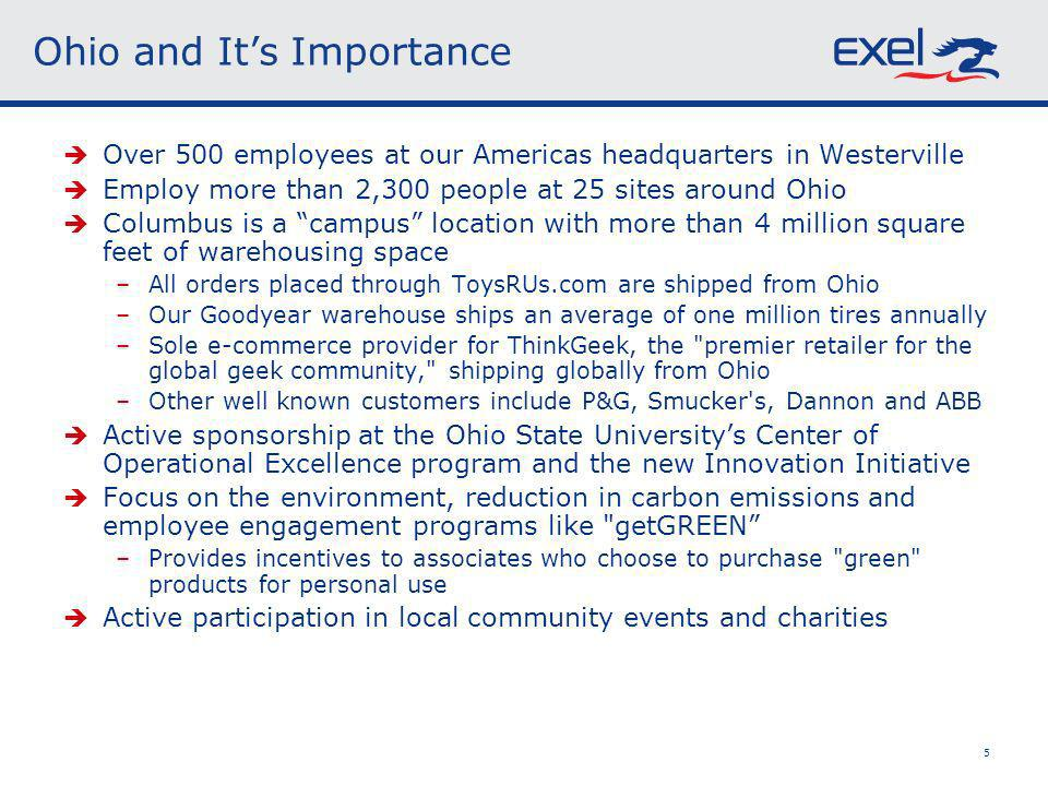 5 Ohio and Its Importance Over 500 employees at our Americas headquarters in Westerville Employ more than 2,300 people at 25 sites around Ohio Columbus is a campus location with more than 4 million square feet of warehousing space –All orders placed through ToysRUs.com are shipped from Ohio –Our Goodyear warehouse ships an average of one million tires annually –Sole e-commerce provider for ThinkGeek, the premier retailer for the global geek community, shipping globally from Ohio –Other well known customers include P&G, Smucker s, Dannon and ABB Active sponsorship at the Ohio State Universitys Center of Operational Excellence program and the new Innovation Initiative Focus on the environment, reduction in carbon emissions and employee engagement programs like getGREEN –Provides incentives to associates who choose to purchase green products for personal use Active participation in local community events and charities