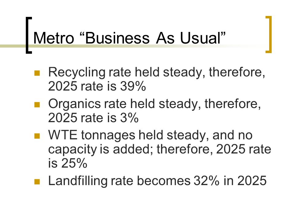 Metro Business As Usual Recycling rate held steady, therefore, 2025 rate is 39% Organics rate held steady, therefore, 2025 rate is 3% WTE tonnages held steady, and no capacity is added; therefore, 2025 rate is 25% Landfilling rate becomes 32% in 2025