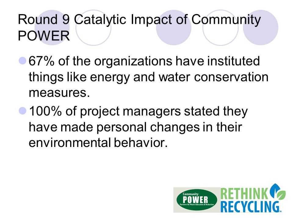 Round 9 Catalytic Impact of Community POWER 67% of the organizations have instituted things like energy and water conservation measures.
