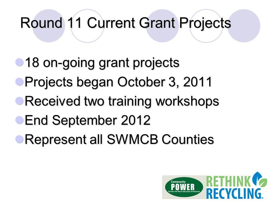 Round 11 Current Grant Projects 18 on-going grant projects 18 on-going grant projects Projects began October 3, 2011 Projects began October 3, 2011 Received two training workshops Received two training workshops End September 2012 End September 2012 Represent all SWMCB Counties Represent all SWMCB Counties