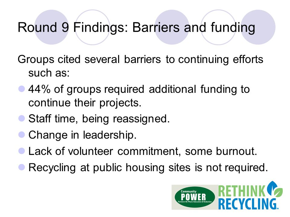 Round 9 Findings: Barriers and funding Groups cited several barriers to continuing efforts such as: 44% of groups required additional funding to continue their projects.