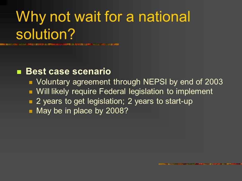 Why not wait for a national solution.