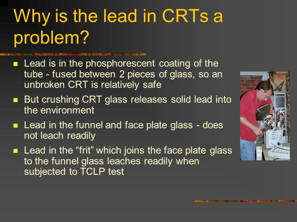 Why is the lead in CRTs a problem.