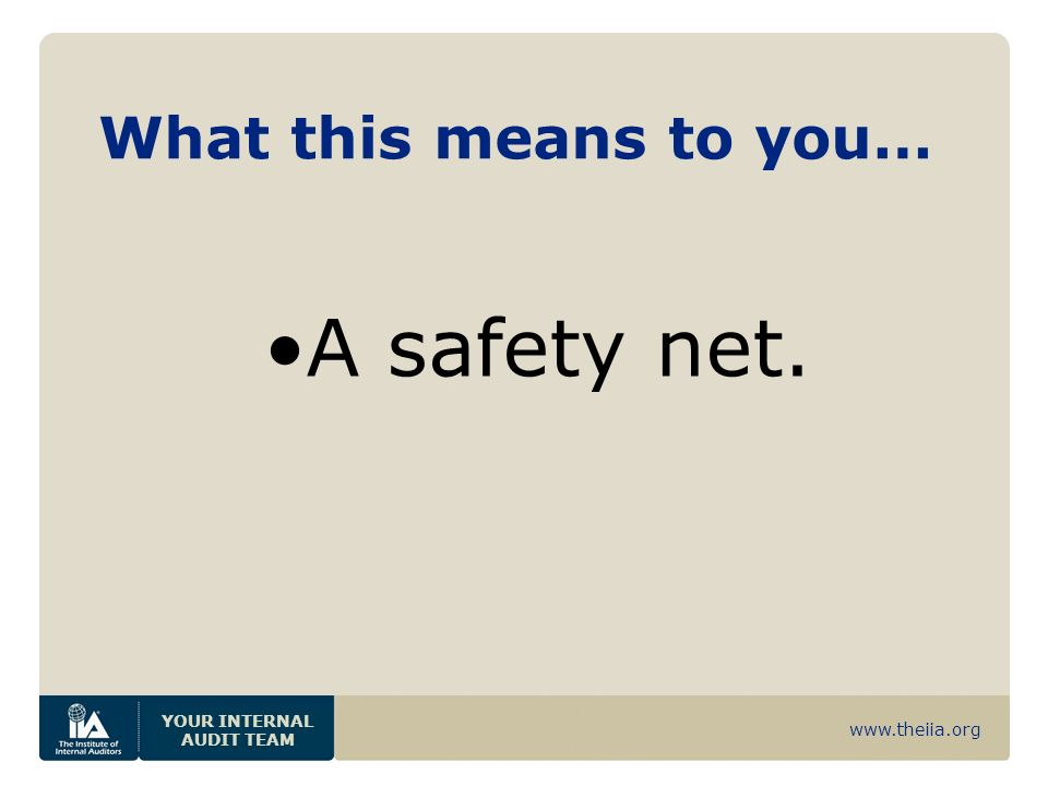www.theiia.org YOUR INTERNAL AUDIT TEAM What this means to you… A safety net.