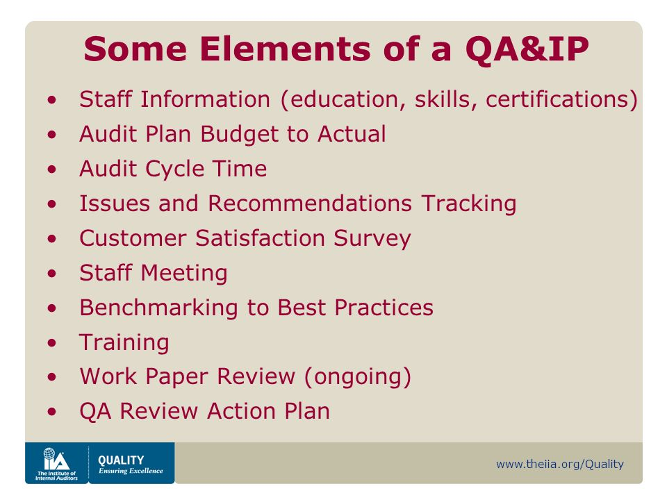 www.theiia.org/Quality Some Elements of a QA&IP Staff Information (education, skills, certifications) Audit Plan Budget to Actual Audit Cycle Time Issues and Recommendations Tracking Customer Satisfaction Survey Staff Meeting Benchmarking to Best Practices Training Work Paper Review (ongoing) QA Review Action Plan