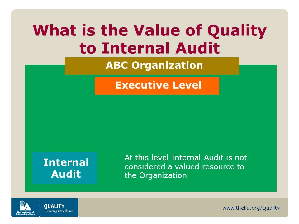 www.theiia.org/Quality What is the Value of Quality to Internal Audit ABC Organization Internal Audit Executive Level At this level Internal Audit is not considered a valued resource to the Organization