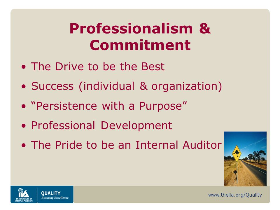 www.theiia.org/Quality Professionalism & Commitment The Drive to be the Best Success (individual & organization) Persistence with a Purpose Professional Development The Pride to be an Internal Auditor