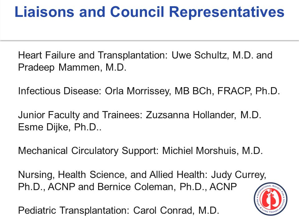 Liaisons and Council Representatives Heart Failure and Transplantation: Uwe Schultz, M.D.