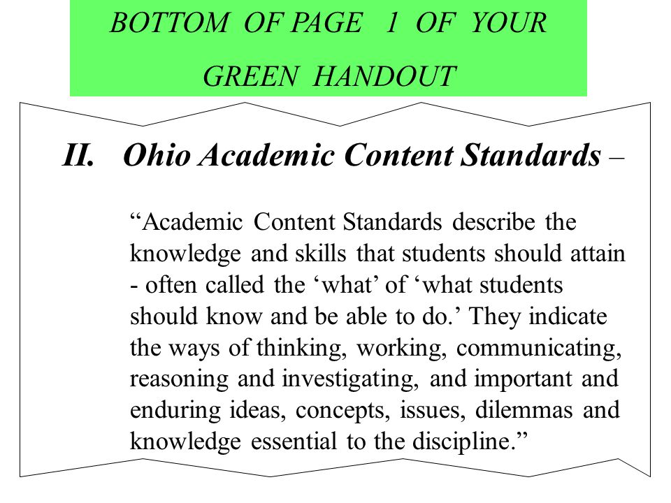 BOTTOM OF PAGE 1 OF YOUR GREEN HANDOUT II.