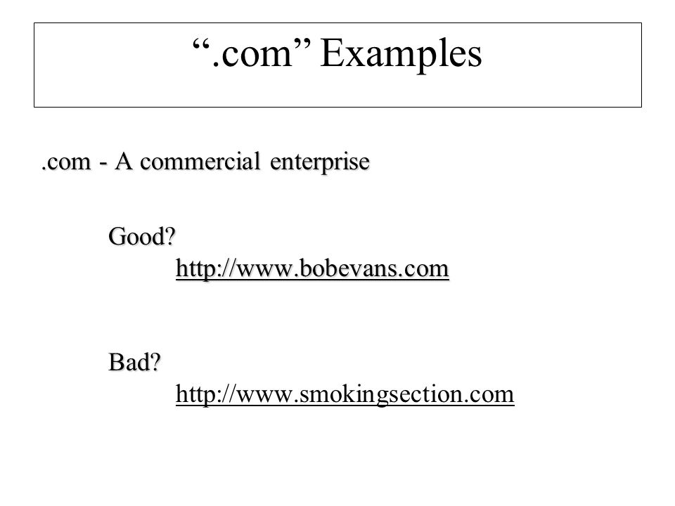 .com Examples.com - A commercial enterprise Good.