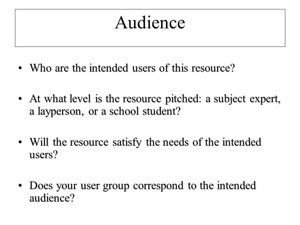 Audience Who are the intended users of this resource Who are the intended users of this resource.
