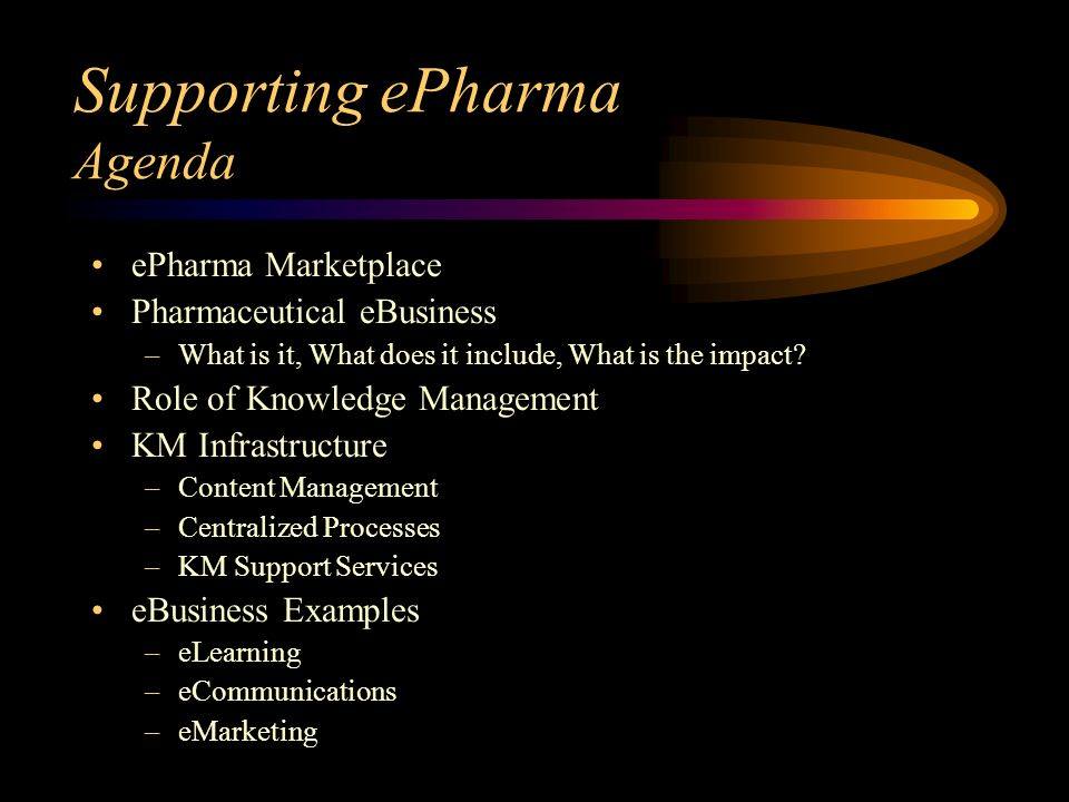 Supporting ePharma Agenda ePharma Marketplace Pharmaceutical eBusiness –What is it, What does it include, What is the impact.