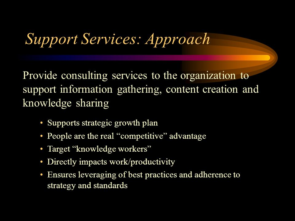 Support Services: Approach Provide consulting services to the organization to support information gathering, content creation and knowledge sharing Supports strategic growth plan People are the real competitive advantage Target knowledge workers Directly impacts work/productivity Ensures leveraging of best practices and adherence to strategy and standards