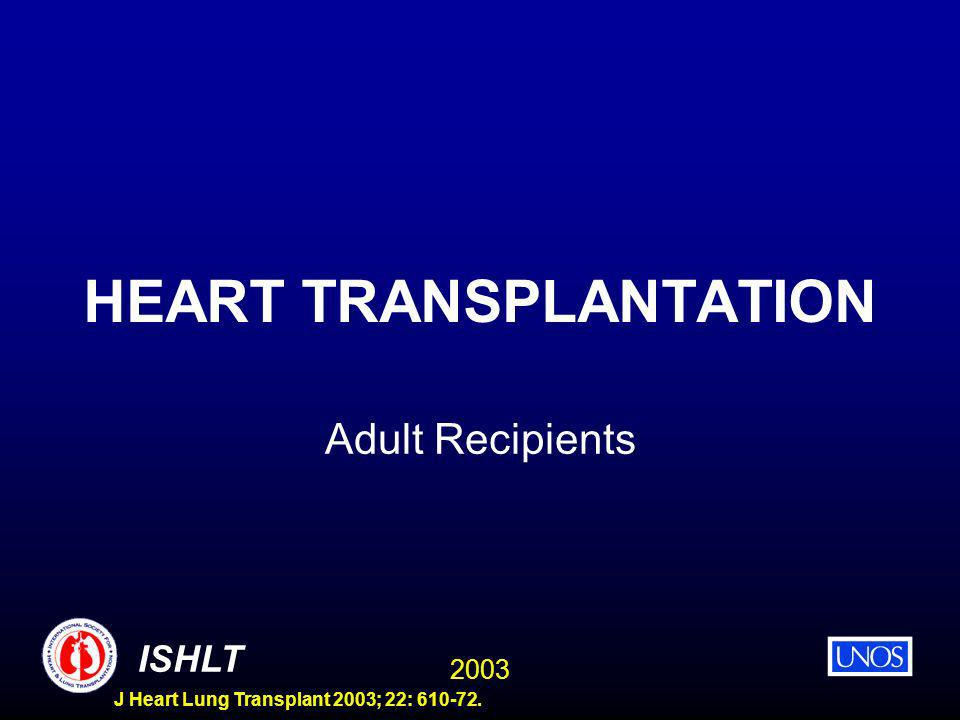 2003 ISHLT J Heart Lung Transplant 2003; 22: 610-72. HEART TRANSPLANTATION Adult Recipients