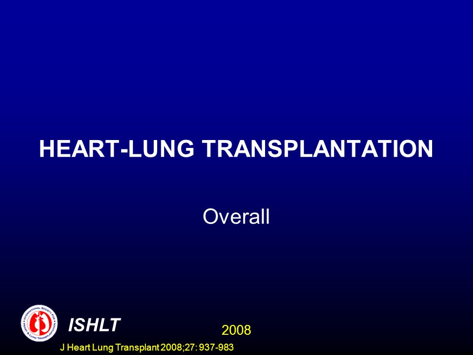HEART-LUNG TRANSPLANTATION Overall ISHLT 2008 J Heart Lung Transplant 2008;27: 937-983