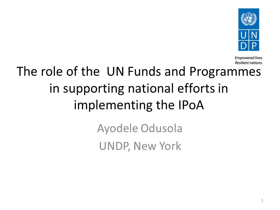 The role of the UN Funds and Programmes in supporting national efforts in implementing the IPoA Ayodele Odusola UNDP, New York 1