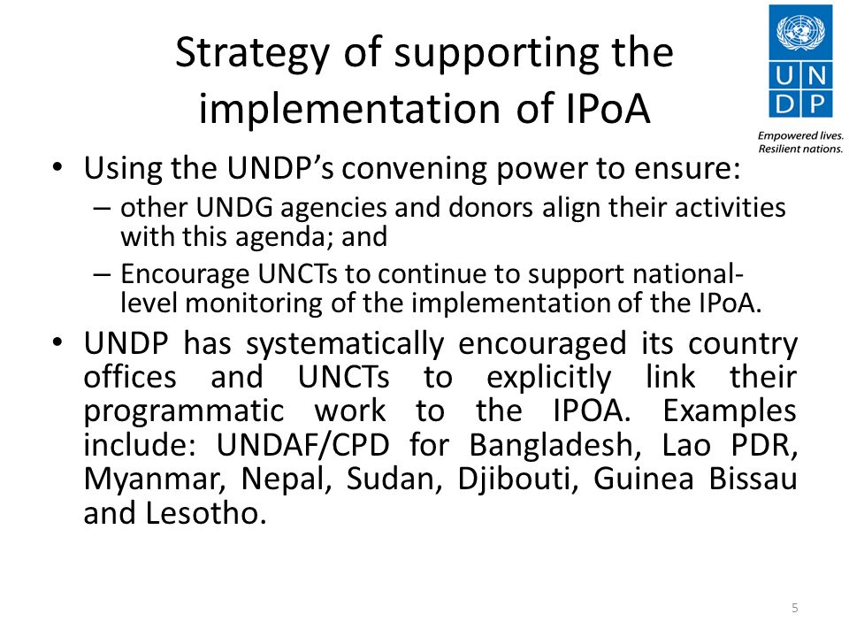 Strategy of supporting the implementation of IPoA Using the UNDPs convening power to ensure: – other UNDG agencies and donors align their activities with this agenda; and – Encourage UNCTs to continue to support national- level monitoring of the implementation of the IPoA.