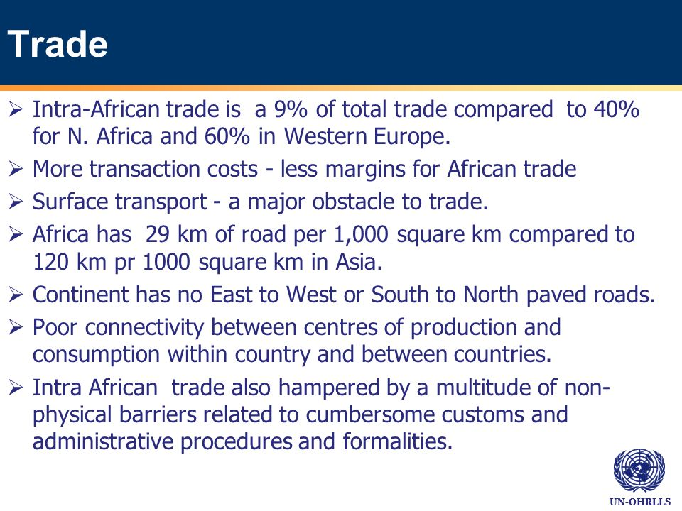 UN-OHRLLS Trade Intra-African trade is a 9% of total trade compared to 40% for N.