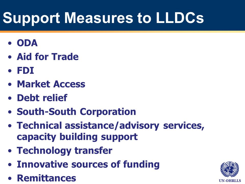 UN-OHRLLS Support Measures to LLDCs ODA Aid for Trade FDI Market Access Debt relief South-South Corporation Technical assistance/advisory services, capacity building support Technology transfer Innovative sources of funding Remittances