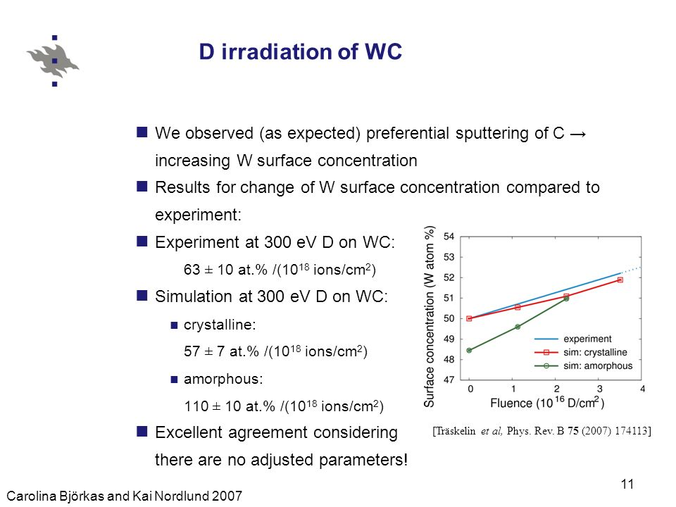 Carolina Björkas and Kai Nordlund 2007 11 D irradiation of WC We observed (as expected) preferential sputtering of C increasing W surface concentration Results for change of W surface concentration compared to experiment: Experiment at 300 eV D on WC: 63 ± 10 at.% /(10 18 ions/cm 2 ) Simulation at 300 eV D on WC: crystalline: 57 ± 7 at.% /(10 18 ions/cm 2 ) amorphous: 110 ± 10 at.% /(10 18 ions/cm 2 ) Excellent agreement considering there are no adjusted parameters.