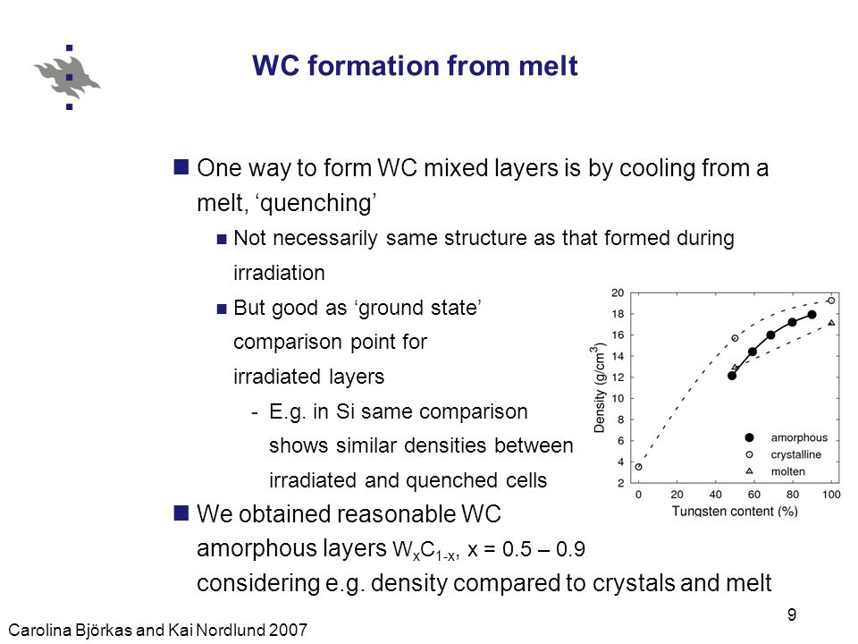 Carolina Björkas and Kai Nordlund 2007 9 WC formation from melt One way to form WC mixed layers is by cooling from a melt, quenching Not necessarily same structure as that formed during irradiation But good as ground state comparison point for irradiated layers -E.g.