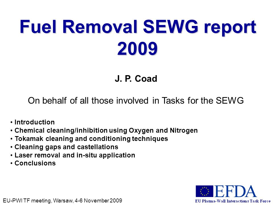 EU-PWI TF meeting, Warsaw, 4-6 November 2009 Fuel Removal SEWG report 2009 J.