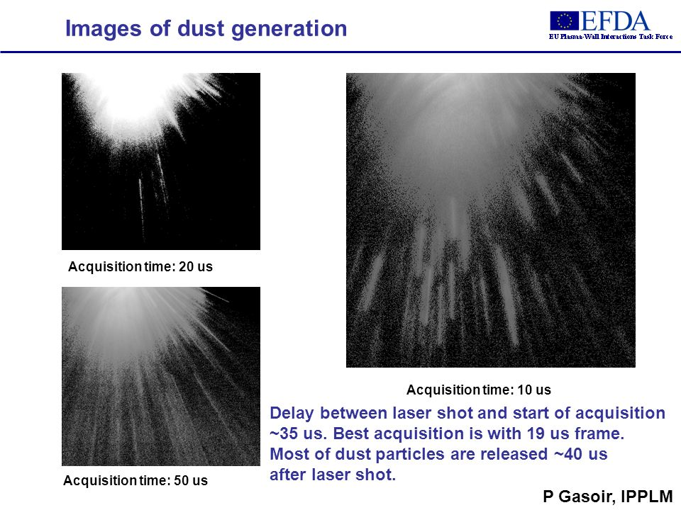 Images of dust generation Acquisition time: 20 us Acquisition time: 50 us Acquisition time: 10 us Delay between laser shot and start of acquisition ~35 us.