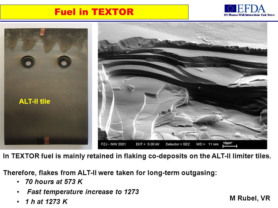 Fuel in TEXTOR ALT-II tile In TEXTOR fuel is mainly retained in flaking co-deposits on the ALT-II limiter tiles.
