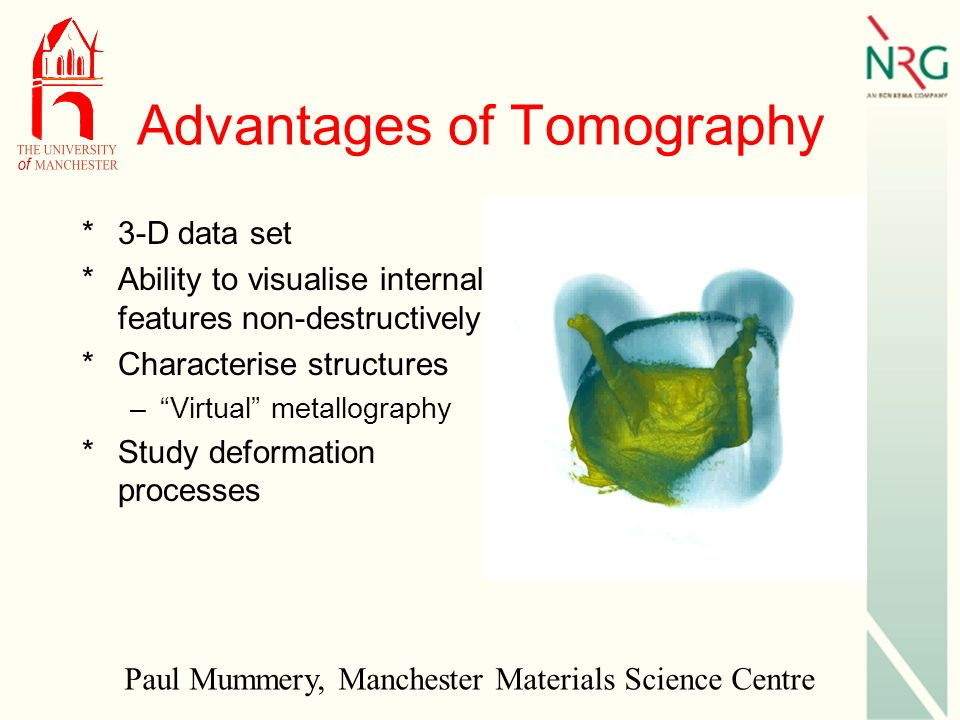 Advantages of Tomography *3-D data set *Ability to visualise internal features non-destructively *Characterise structures –Virtual metallography *Study deformation processes Paul Mummery, Manchester Materials Science Centre
